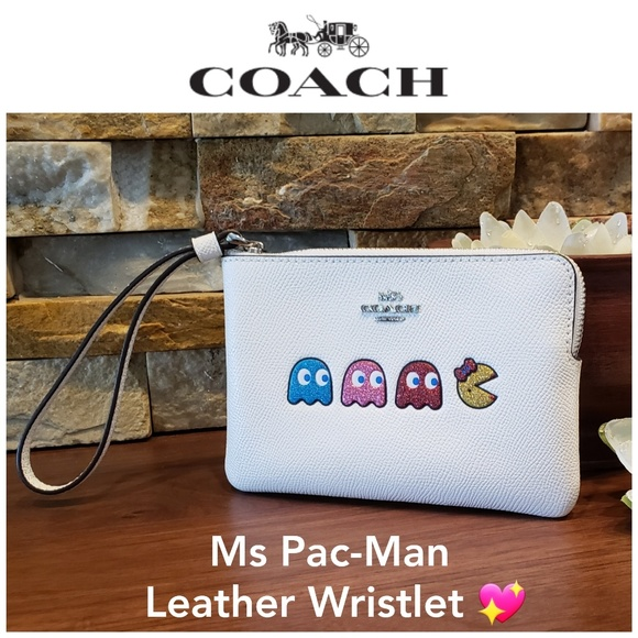 Coach Handbags - NEW Coach Leather Wristlet with Ms Pac-Man